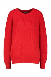 Womens Tall Soft Knit Slouchy Jumper - red - M/L, Red