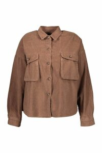 Womens Plus Super Oversized Mock Horn Button Cord Shirt - beige - 18, Beige