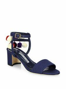 Pompom Linen Ankle-Strap Sandals