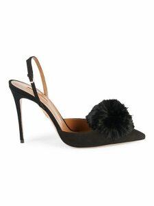 Pom-Pom Suede Slingback Sandals