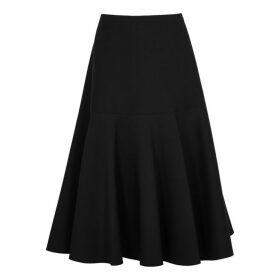 Valentino Black Flared Wool-blend Skirt