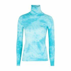 Walk Of Shame Blue Tie-dye Silk-blend Jumper