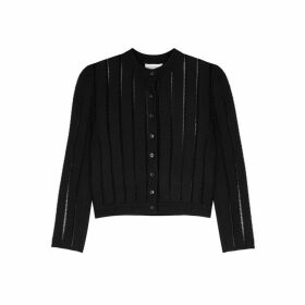 Alexander McQueen Black Laddered-knit Cardigan