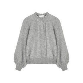 Frame Denim Grey Ruffle-trimmed Cashmere Jumper