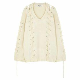 McQ Alexander McQueen Ecru Lace-up Wool-blend Jumper