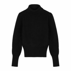 Frame Denim Black Roll-neck Cotton Jumper