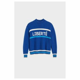 Chinti & Parker Blue Liberte Chunky Polo Neck Sweater