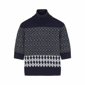 Chloé Navy Argyle Wool-blend Jumper