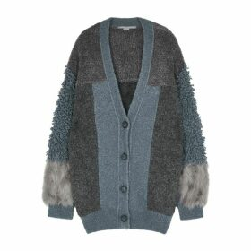 Stella McCartney Panelled Faux Fur And Wool-blend Cardigan