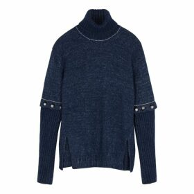Chloé Navy Roll-neck Alpaca-blend Jumper