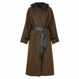 KASSL Brown Longline Waxed Cotton Coat