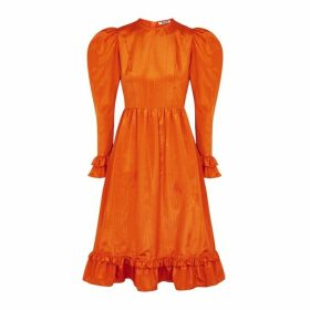 BATSHEVA Orange Ruffle-trimmed Satin-twill Dress