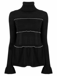 Red Valentino contrast ruffle turtleneck top - Black