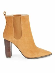 Amy Suede Stack-Heel Booties