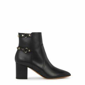 Valentino Garavani Rockstud 75 Black Leather Ankle Boots