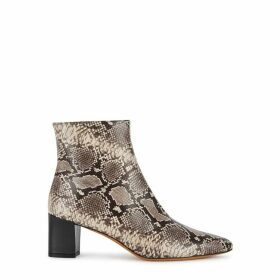 Vince Lanica 70 Grey Python-effect Leather Ankle Boots