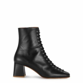 BY FAR Becca 65 Black Leather Ankle Boots