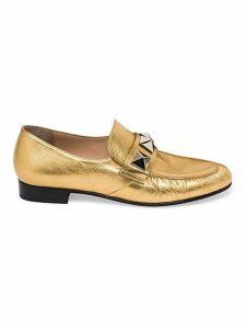 Valentino Garavani Rockstud Metallic Leather Loafers