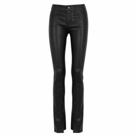 Paige Constance Black Leather Skinny Jeans
