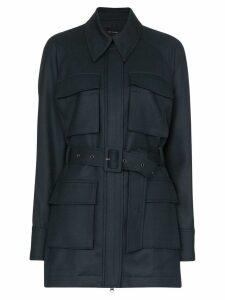Low Classic belted long-sleeve military jacket - Blue