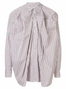 Y/Project ruched striped shirt - White