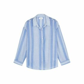 Velvet By Graham & Spencer Simone Blue Cotton Shirt