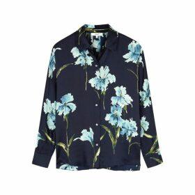 Vince Navy Floral-print Silk Shirt
