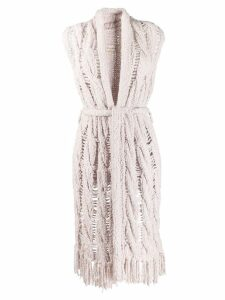 Gentry Portofino distressed knit sleeveless cardigan - NEUTRALS