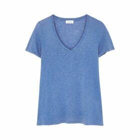 American Vintage Kobibay Blue Slubbed Jersey T-shirt