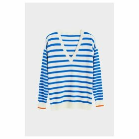 Chinti & Parker Blue Striped Cashmere V Neck Sweater