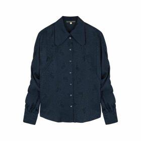 ALEXACHUNG Navy Satin-jaquard Shirt