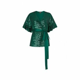 Kitri Alexis Green Sequin Wrap Top