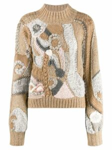 Alberta Ferretti colour-block embroidered sweater - NEUTRALS