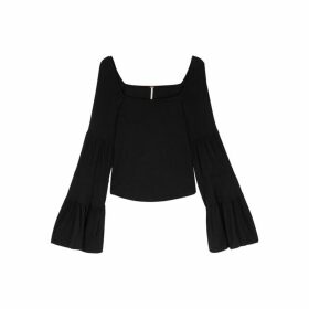 Free People Babetown Black Jersey Top