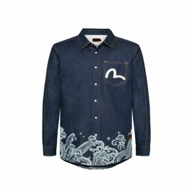 Evisu Denim Shirt With Kamon And Wave Print