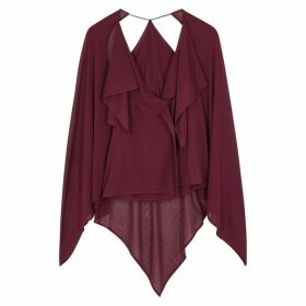 Roland Mouret Savoy Bordeaux Cape-effect Blouse