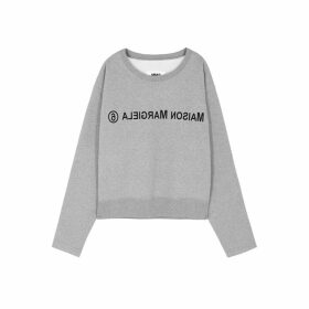 MM6 By Maison Margiela Grey Logo-print Cotton Sweatshirt