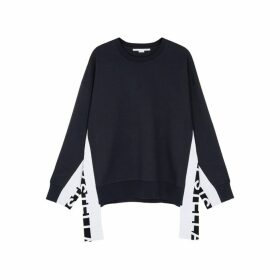 Stella McCartney Midnight Blue Logo-jacquard Sweatshirt