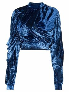 Y/Project draped velvet cropped sweatshirt - Blue