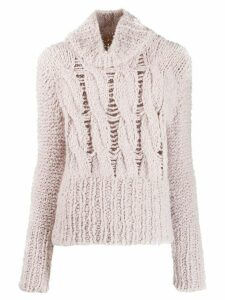 Gentry Portofino distressed knit turtleneck jumper - NEUTRALS