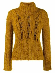Gentry Portofino distressed knit turtleneck jumper - Yellow