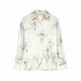Vince Ivory Floral-print Silk Shirt