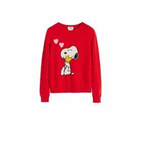 Chinti & Parker Red Snoopy Love Wool-cashmere Sweater