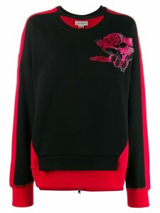 Alexander McQueen rose embroidered sweatshirt - Black
