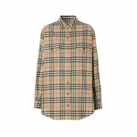 Burberry Vintage Check Cotton Flannel Oversized Shirt