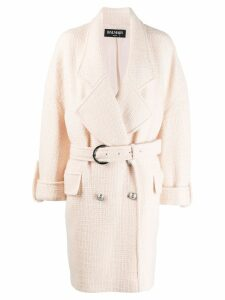 Balmain oversized belted coat - NEUTRALS