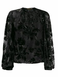 Saint Laurent shiny floral embroidered blouse - Black