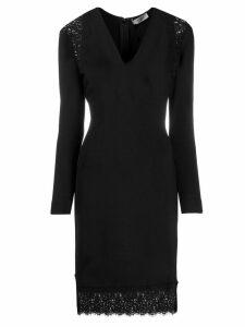 Twin-Set lace panel v-neck dress - Black