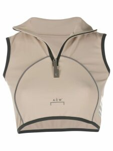 A-Cold-Wall* cropped zip-up tank top - Neutrals
