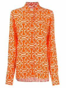 Jil Sander geometric printed longline shirt - ORANGE